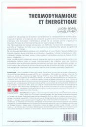 Thermodynamique Et Energetique Volume1 4eme Edition - 4ème de couverture - Format classique