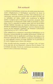 Esh Metsaref Le Feu Alchimique - 4ème de couverture - Format classique
