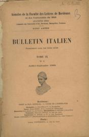 Bulletin Italien. Tome Ix N°3, Juillet- Septembre 1909. Les Plus Anciennes Traductions De Boccace. - Couverture - Format classique