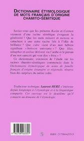 Dictionnaire Etymologique De Mots Francais D'Origine Chamito-Semitique - 4ème de couverture - Format classique