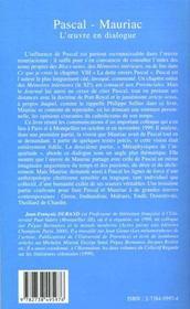 Pascal-Mauriac ; L'Oeuvre En Dialogue - 4ème de couverture - Format classique