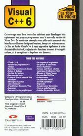 Visual C++ 6 - 4ème de couverture - Format classique