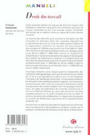 Manuel De Droit Du Travail - 4ème de couverture - Format classique