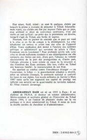 Tchad : L'Etat Retrouve - 4ème de couverture - Format classique
