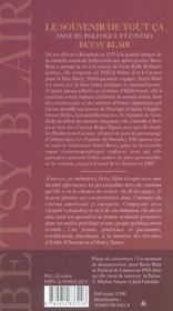 Betsy Blair Le Souvenir De Tout Ca - 4ème de couverture - Format classique