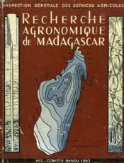 Recherche Agronomique De Madagascar. Conpte Rendu N°2. 1953 - Couverture - Format classique