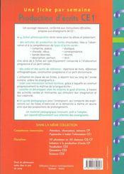 Initiation à la production d'écrits ; CE1 - 4ème de couverture - Format classique