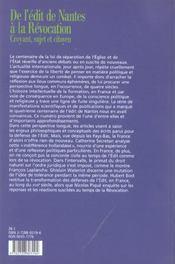 De l'édit de Nantes à la révocation ; croyant, sujet et citoyen - 4ème de couverture - Format classique
