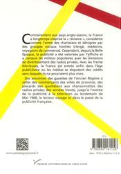 Histoire de la publicité en France - 4ème de couverture - Format classique