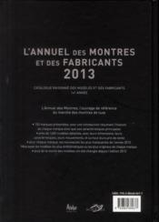 Annuel Des Montres 2013 - 4ème de couverture - Format classique
