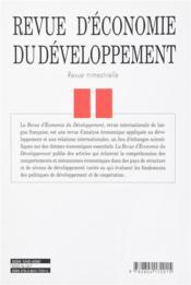 Revue D'Economie Du Developpement N.1 - 4ème de couverture - Format classique