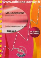 Management. Enonce - Ue 7 Du Dcg - Couverture - Format classique