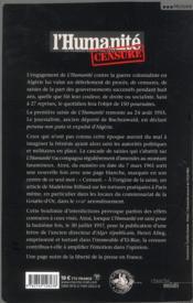 L'Humanité censuré ; 1954-1962, un quotidien dans la guerre d'Algérie - 4ème de couverture - Format classique