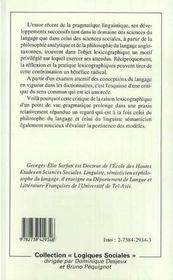 Dire, Agir, Definir ; Dictionnaires Et Langage Ordinaire - 4ème de couverture - Format classique