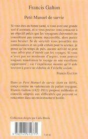 Petit Manuel De Survie - 4ème de couverture - Format classique