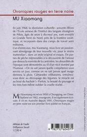 Chroniques Rouges En Terre Noire - 4ème de couverture - Format classique