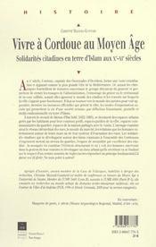 Vivre A Cordoue Au Moyen Age - 4ème de couverture - Format classique