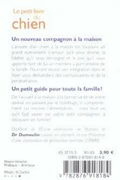 Le Petit Livre Du Chien - 4ème de couverture - Format classique