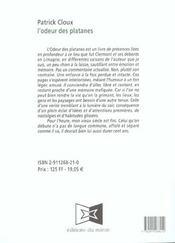 Odeur Des Platanes (L') - 4ème de couverture - Format classique