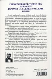 Prisonniers politiques fln en france pendant la guerre d'algerie 1954-1962. - 4ème de couverture - Format classique