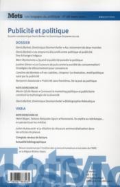 Mots, Les Langages Du Politique N.98 ; Publicité Et Politique - 4ème de couverture - Format classique