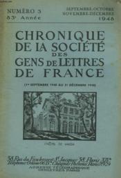 CHRONIQUE DE LA SOCIETE DES GENS DE LETTRES DE FRANCE N°3, 83e ANNEE ( 1er SEPTEMBRE AU 31 DECEMBRE 1948) - Couverture - Format classique