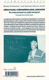Semiotique, Phenomenologie, Discours : Du Corps Present Au Sujet Enoneant - 4ème de couverture - Format classique