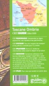 Geoguide ; Toscane, Ombrie (Edition 2004/2005) - 4ème de couverture - Format classique