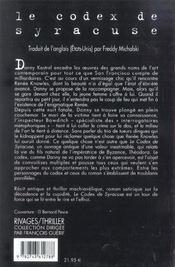 Le Codex De Syracuse - 4ème de couverture - Format classique