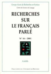Recherches Sur Le Francais Parle - Couverture - Format classique