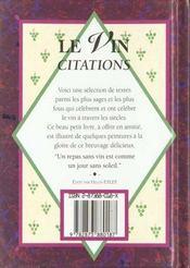 Le vin citations - 4ème de couverture - Format classique