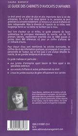 Guide Des Cabinets D'Avocats D'Affaires - 4ème de couverture - Format classique