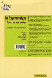 La psychanalyse ; points de vue pluriels - 4ème de couverture - Format classique