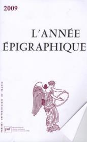 L'Annee Epigraphique ; 2009 - Couverture - Format classique