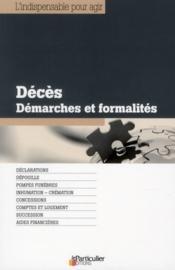 Décès ; démarches et formalités - Couverture - Format classique