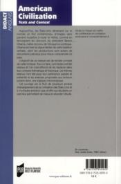 American civilization ; texts and context - 4ème de couverture - Format classique