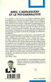 Dieu, L'Adolescent Et La Psychanalyse ; Fonctions Du Religieux Et Processus D'Adolescence - 4ème de couverture - Format classique