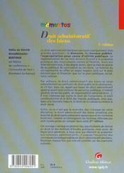 Memento Droit Administratif Des Biens 3e - 4ème de couverture - Format classique