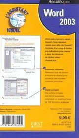 Word 2003 Assistant Visuel Aide Memoire - 4ème de couverture - Format classique