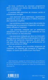 Pour Reussir Son Bac S, 3e Ed. - Methodes Et 800 Exercices Corriges De Mathematique - 4ème de couverture - Format classique