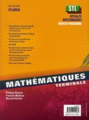 SIGMA ; mathématiques ; terminale STL, spécialité biotechnologies ; livre de l'élève - 4ème de couverture - Format classique