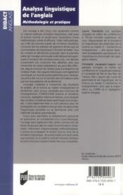 Analyse linguistique de l'anglais ; méthodologie et pratique - 4ème de couverture - Format classique