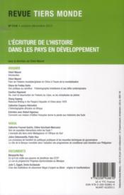REVUE TIERS-MONDE N.216 ; l'écriture de l'histoire dans les pays en développement - 4ème de couverture - Format classique