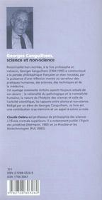 Georges Canguilhem, Science Et Non-Science - 4ème de couverture - Format classique