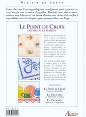 Le point de croix ; decor de la maison - 4ème de couverture - Format classique