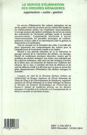Le Service D'Elimination Des Ordures Menageres - 4ème de couverture - Format classique