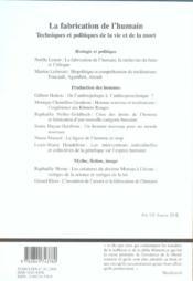La Fabrication De L'Humain - 4ème de couverture - Format classique