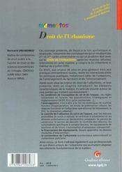 Memento Droit De L'Urbanisme - 4ème de couverture - Format classique