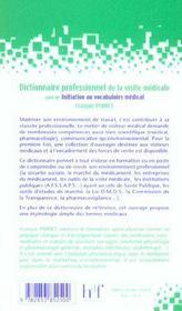 Dictionnaire Professionnel De La Visite Medicale ; Initiation Au Vocabulaire Med - 4ème de couverture - Format classique