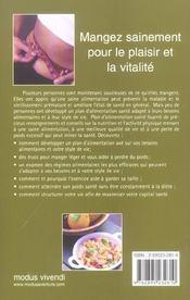 Plan d'alimentation sante - 4ème de couverture - Format classique